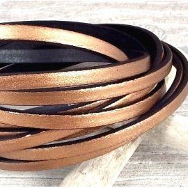 Cuir plat 5mm cuivre dore rose metal