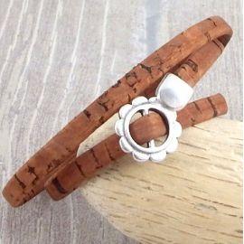 Kit bracelet camel style liege vert tendance fleur fermoir ajustable