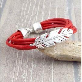 Kit bracelet cuir rouge 6 cordons plume argent