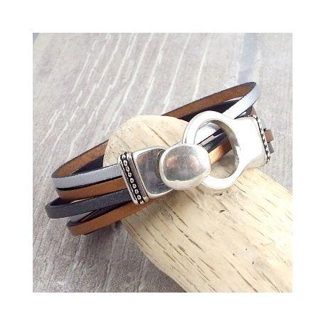 kit bracelet cuir 3 bandes fermoir boucle plaque argent
