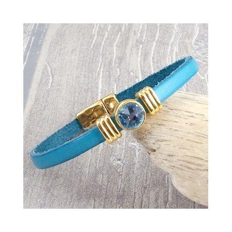 Kit bracelet cuir turquoise et or avec strass swarovski