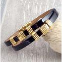 Kit bracelet cuir double verni noir et or
