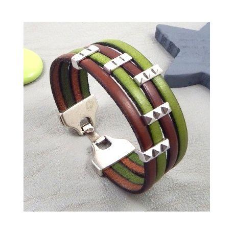 Kit bracelet cuir marron et vert design argent