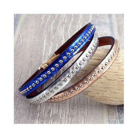 kit bracelet cuir or rose billes