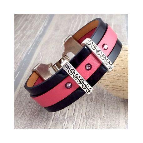 Kit tutoriel bracelet cuir rose et noir verni cristal swarovski pink