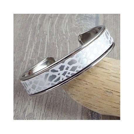 Kit bracelet cuir laiton argente cuir blanc et argent