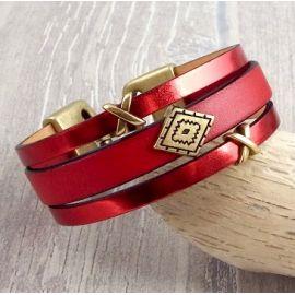 Kit bracelet cuir rouge et bronze