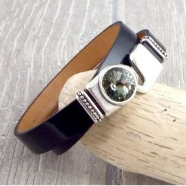 Kit tutoriel bracelet cuir verni noir cristal et argent
