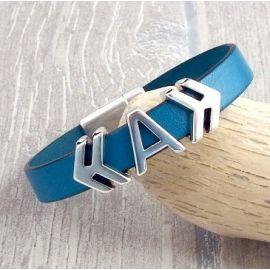 Kit tutoriel bracelet cuir turquoise avec initiale