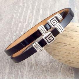 Kit bracelet cuir double verni noir et argent