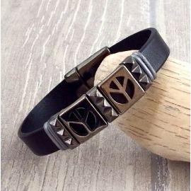 Kit bracelet cuir homme noir peace gun metal