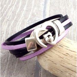 Kit tutoriel bracelet cuir noir et mauve fermoir coeur