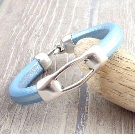 kit bracelet cuir regaliz bleu metal deux parties fermoir plaque argent