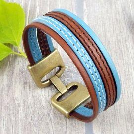 Kit bracelet cuir marron turquoise bronze