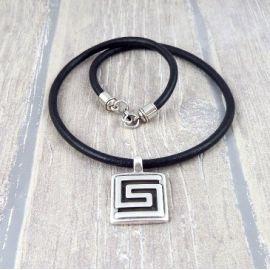 Kit collier cuir noir pendentif spirale argent