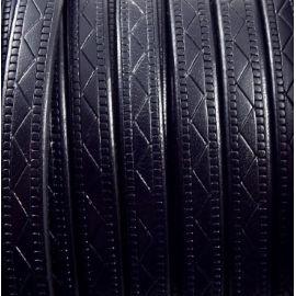 Cuir plat 8mm noir grave geometrique par 20cm