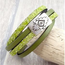 Kit bracelet cuir vert anis double fermoir inca argent