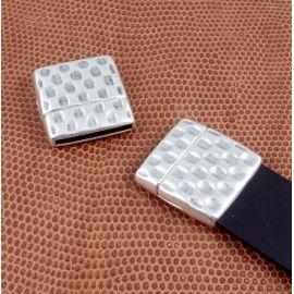 Fermoir magnetique martele haute qualite argent pour cuir plat int 20mm