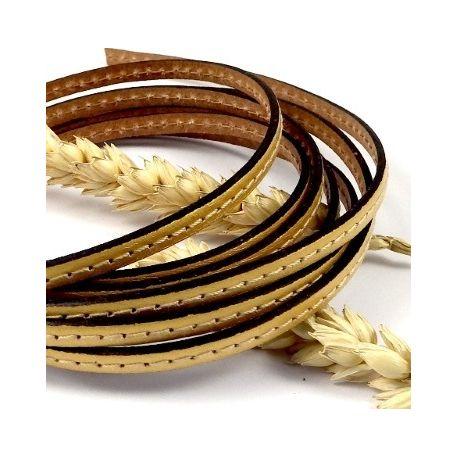 cuir plat dore 5mm avec couture