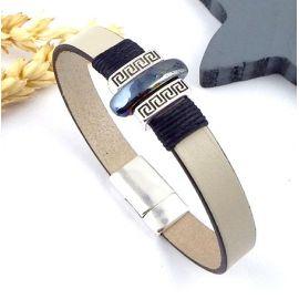 kit bracelet cuir mastic argent et ceramique boho