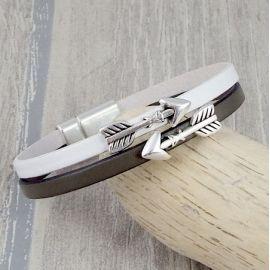 Kit bracelet cuir kaki et blanc fleches argent