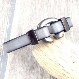 kit tuto bracelet cuir raye noir et blanc fermoir crochet or