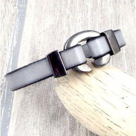 Kit tutoriel bracelet cuir gris fermoir crochet argent deux