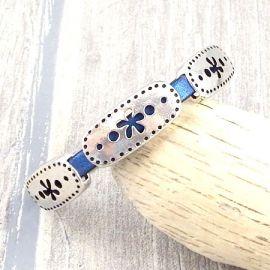 Kit bracelet cuir bleu metal perles ovales argent fleurs