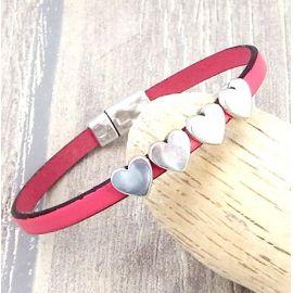 Kit bracelet cuir rose coeurs argent