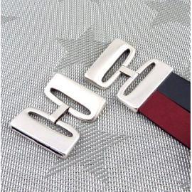 Fermoir clip haute qualite metal plaque argent cuir 40mm