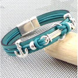 Kit tutoriel bracelet cuir vert ocean ancres marines argent