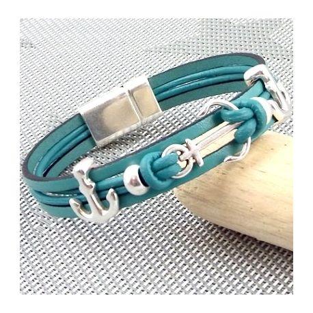Kit tutoriel bracelet cuir noir cristal swarovski avec perles et fermoir plaque argent
