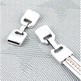 Fermoir clip plaque argent pour cuir 13mm
