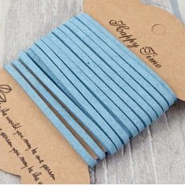 Cordon suedine style daim bleu acier 3mm par 3 metres