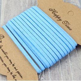 Cordon suedine bleu ciel 3mm par 3 metres
