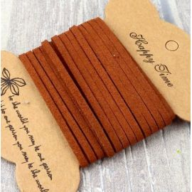 Cordon suedine marron caramel 3mm par 3 metres.