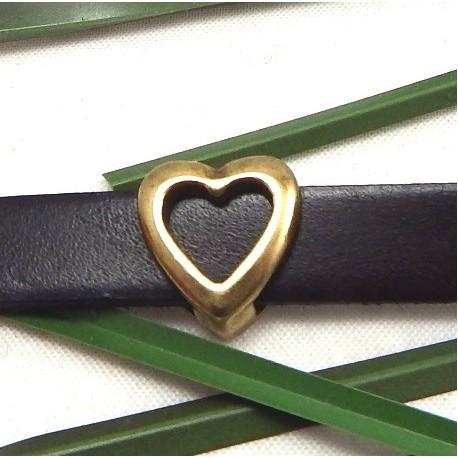 Passant cuir coeur bronze
