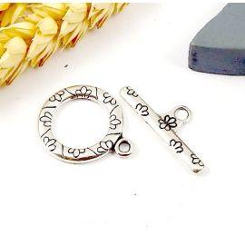 Fermoir gravé fleurs argent toogle haute qualite pour bracelets