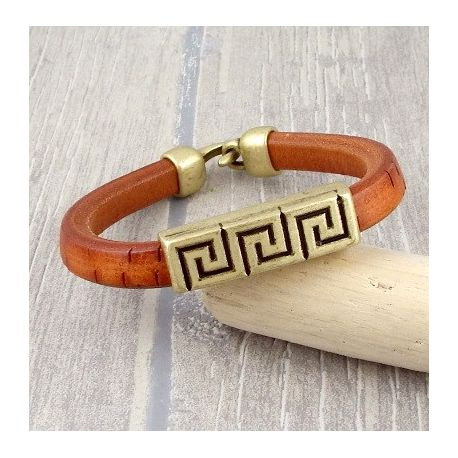Kit bracelet cuir regaliz camel rustique bronze