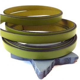 Cuir plat 10mm vert pistache par metre