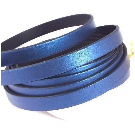 Cuir plat 10mm bleu metal