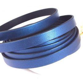 Cuir plat 10mm bleu metal par metre