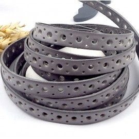 Metre cuir plat 10mm gris clair perfore cercles