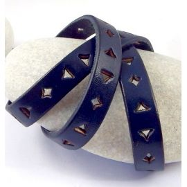 1 metre cordon cuir plat 10mm perfore triangle et carre bleu navy par metre