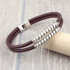 Kit bracelet cuir marron et torsade argent homme