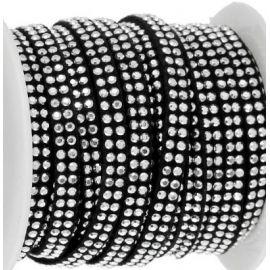 Cordon suedine noir 5mm avec 2 rangs de strass