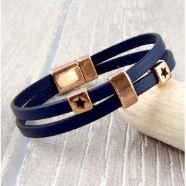Kit bracelet cuir bleu marine et or rose