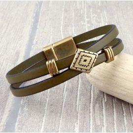 Kit bracelet cuir boho kaki et bronze