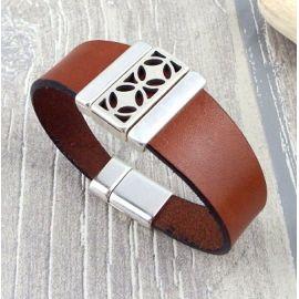 Bracelet cuir camel et argent geometrique