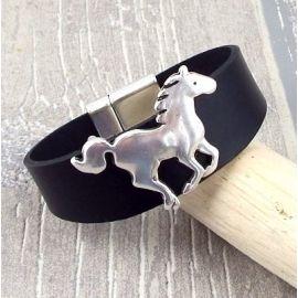 Bracelet cuir noir et cheval argent